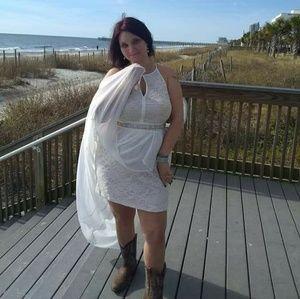 Wedding dress with belt and veil